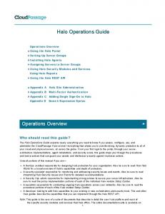 The Halo Operations Guide explains everything ... - CloudPassage
