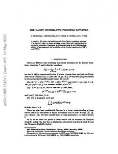 The Hardy Uncertainty Principle Revisited