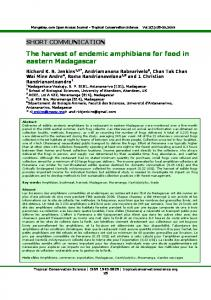 The harvest of endemic amphibians for food in eastern Madagascar