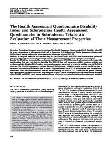 The health assessment questionnaire disability ... - Wiley Online Library