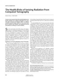 The Health Risks of Ionizing Radiation From Computed Tomography