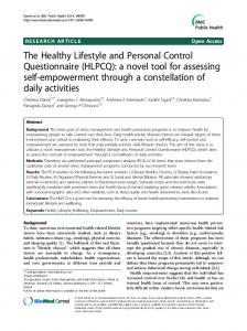 The Healthy Lifestyle and Personal Control Questionnaire (HLPCQ): a ...