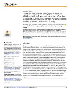 The high prevalence of myopia in Korean children with ... - PLOS