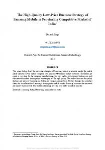 The High-Quality Low-Price Business Strategy of ... - SSRN papers