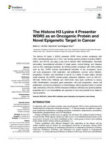 The Histone H3 Lysine 4 Presenter WDR5 as an