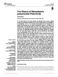 The History of Mycoplasma pneumoniae Pneumonia - Frontiers
