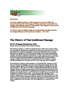 The History of Thai traditional Massage - Thai Healing Alliance ...