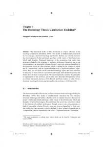 The Homology Thesis: Distinction Revisited - Semantic Scholar