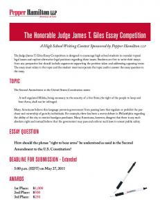 The Honorable Judge James T. Giles Essay Competition - Pepper ...