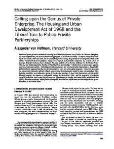 The Housing and Urban Development Act of 1968 ...