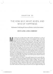 the how, why, what, when, and who of happiness - Sonja Lyubomirsky