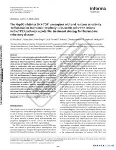 The Hsp90 inhibitor SNX-7081 synergizes with and ...