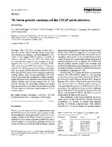 The human prostatic carcinoma cell line LNCaP and its ... - Springer Link