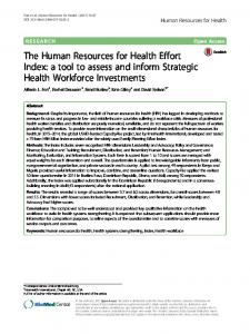 The Human Resources for Health Effort Index - IntraHealth International