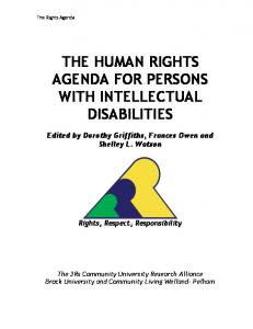 the human rights agenda for persons with intellectual ...