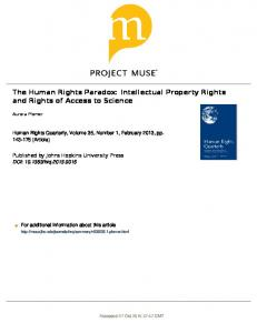 The Human Rights Paradox: Intellectual Property ...