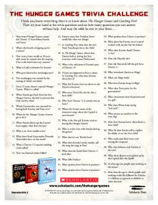 THE HUNGER GAMES TRIVIA CHALLENGE - Scholastic