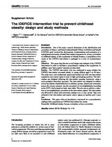 The IDEFICS intervention trial to prevent childhood obesity: design ...