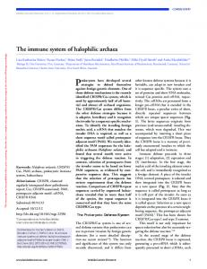 The immune system of halophilic archaea - BioMedSearch