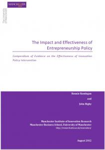 The Impact and Effectiveness of Entrepreneurship Policy