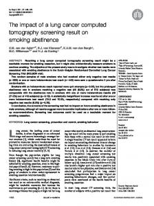 The impact of a lung cancer computed tomography ... - Semantic Scholar