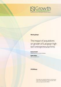 The impact of acquisitions on growth of European high ... - isigrowth