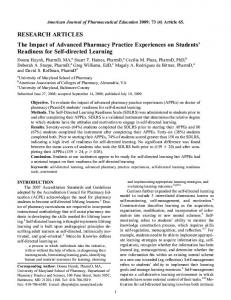 The Impact of Advanced Pharmacy Practice Experiences on Students ...