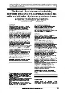 The impact of an immunization training certificate ... - Pharmacy Practice