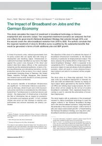 The Impact of Broadband on Jobs and the German Economy