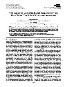 The Impact of Corporate Social Responsibility on Firm Value