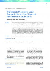 The Impact of Corporate Social Responsibility on Firms' Financial
