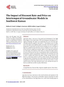The Impact of Discount Rate and Price on Intertemporal Groundwater ...