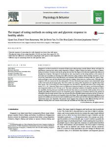 The impact of eating methods on eating rate and ...
