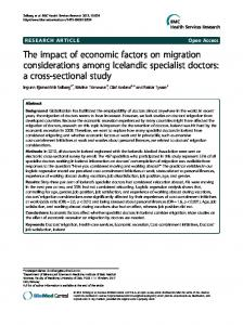 The impact of economic factors on migration ... - BioMed Central