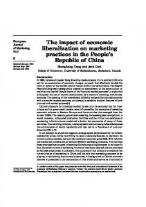 The impact of economic liberalization on marketing practices in the ...