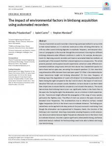 The impact of environmental factors in birdsong ... - Wiley Online Library