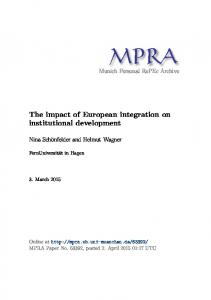 The impact of European integration on institutional development