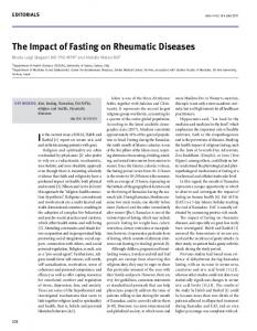 the impact of Fasting on rheumatic diseases