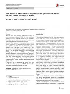 The impact of follicular fluid adiponectin and ghrelin ... - Springer Link