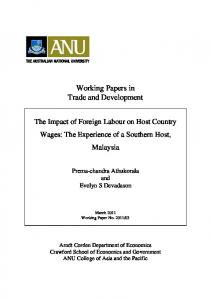 The Impact of Foreign Labour on Host Country Wages: