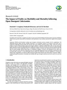 The Impact of Frailty on Morbidity and Mortality following Open ...