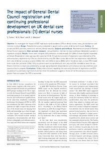 The impact of General Dental Council registration and ... - Nature