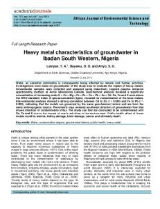 the impact of heavy metal concentration on - African Journals Online