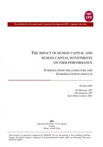 the impact of human capital and human capital