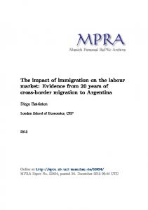 The impact of immigration on the labour market - Munich Personal ...