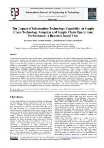 The Impact of Information Technology Capability on