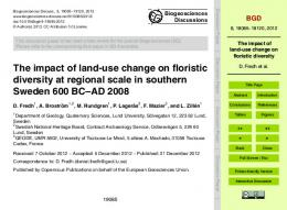 The impact of land-use change on floristic diversity - Biogeosciences