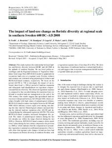 The impact of land-use change on floristic diversity ... - Biogeosciences