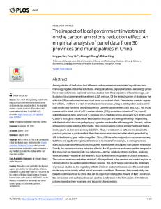 The impact of local government investment on the carbon emissions ...