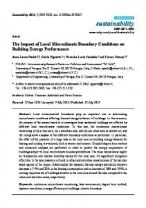 The Impact of Local Microclimate Boundary Conditions on Building ...